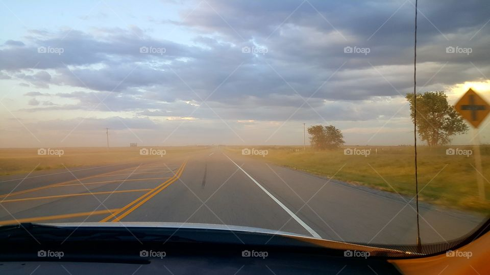 View of dust storm from a vehicle