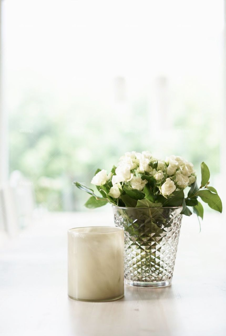 Bouquet of white small roses