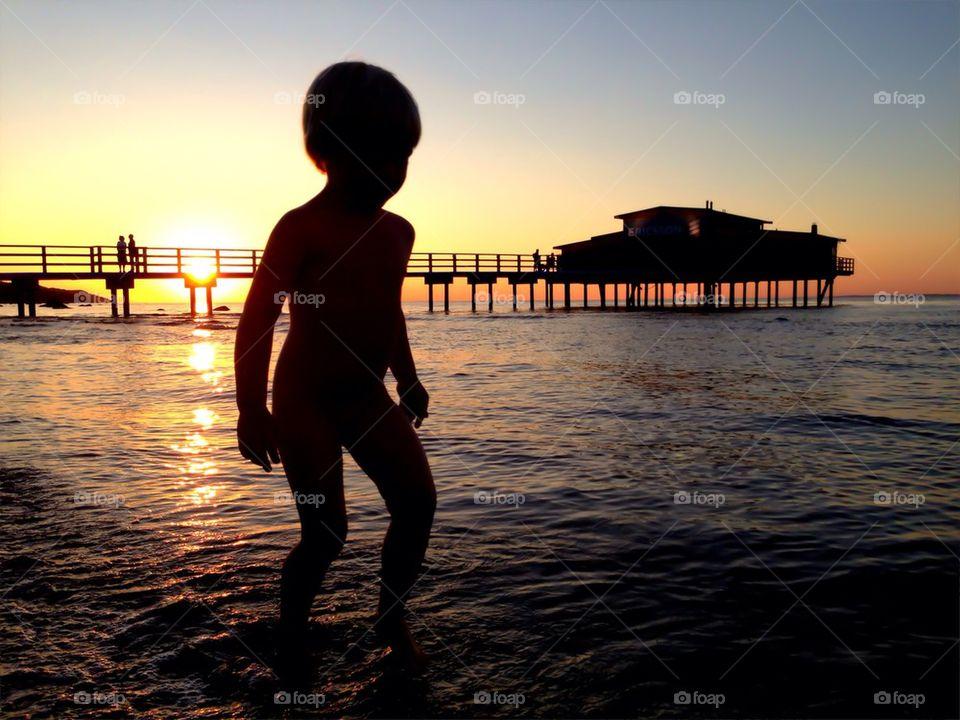 Beachwalk in sunset
