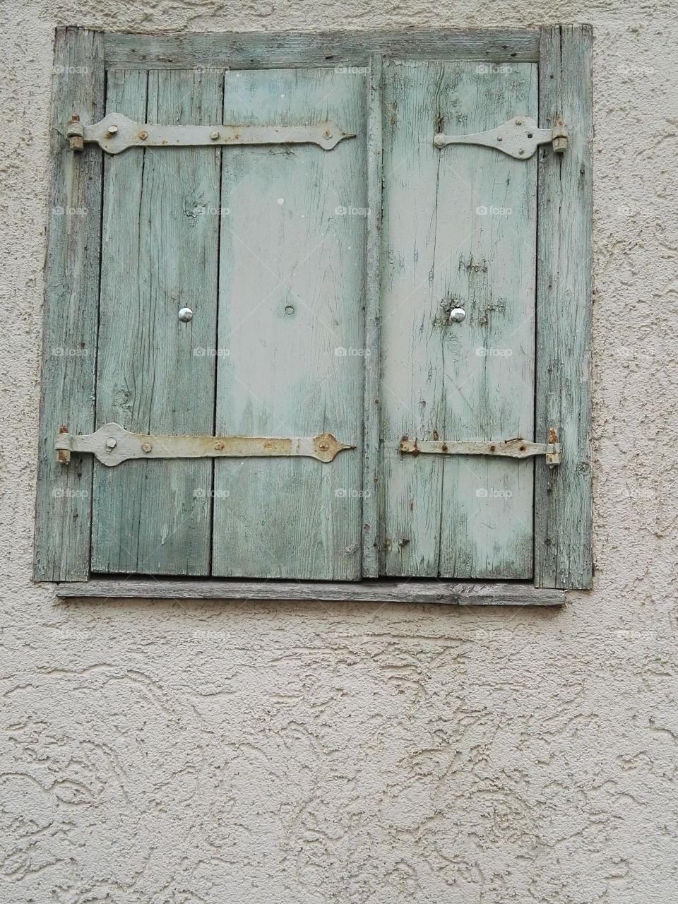 verry old vintage window shutter
