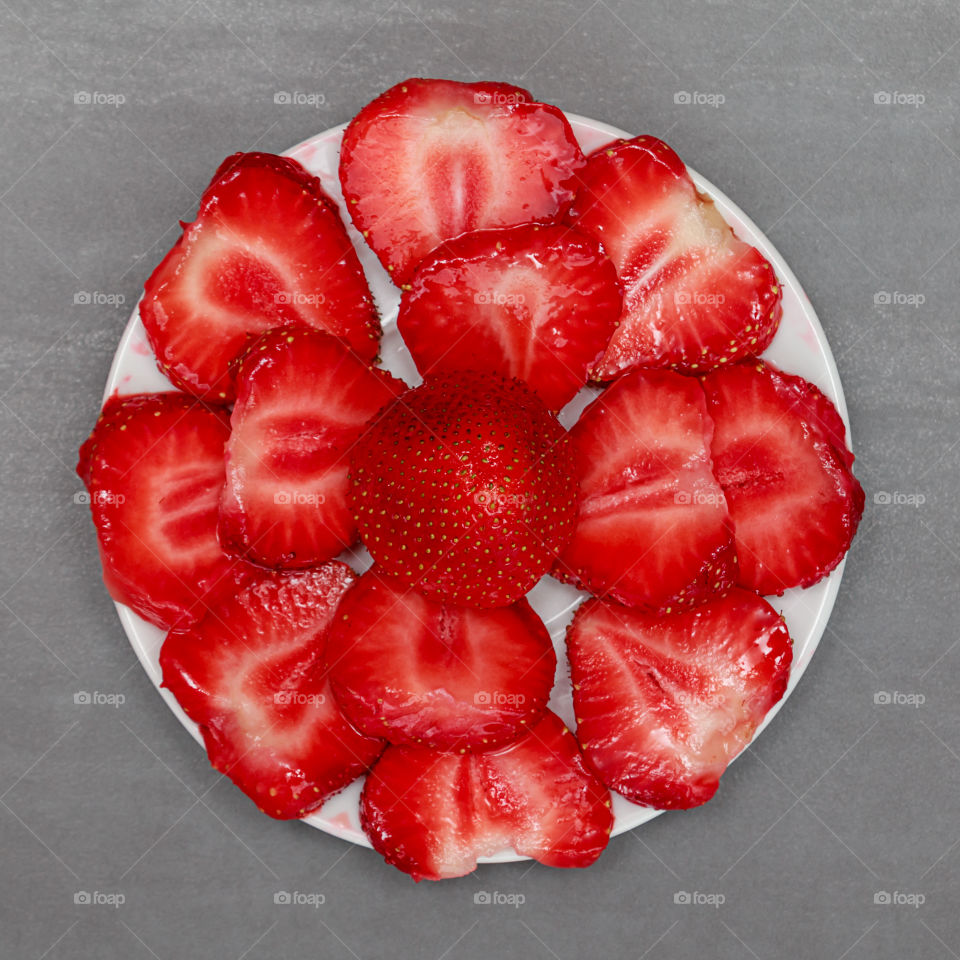 High angle view of a strawberry