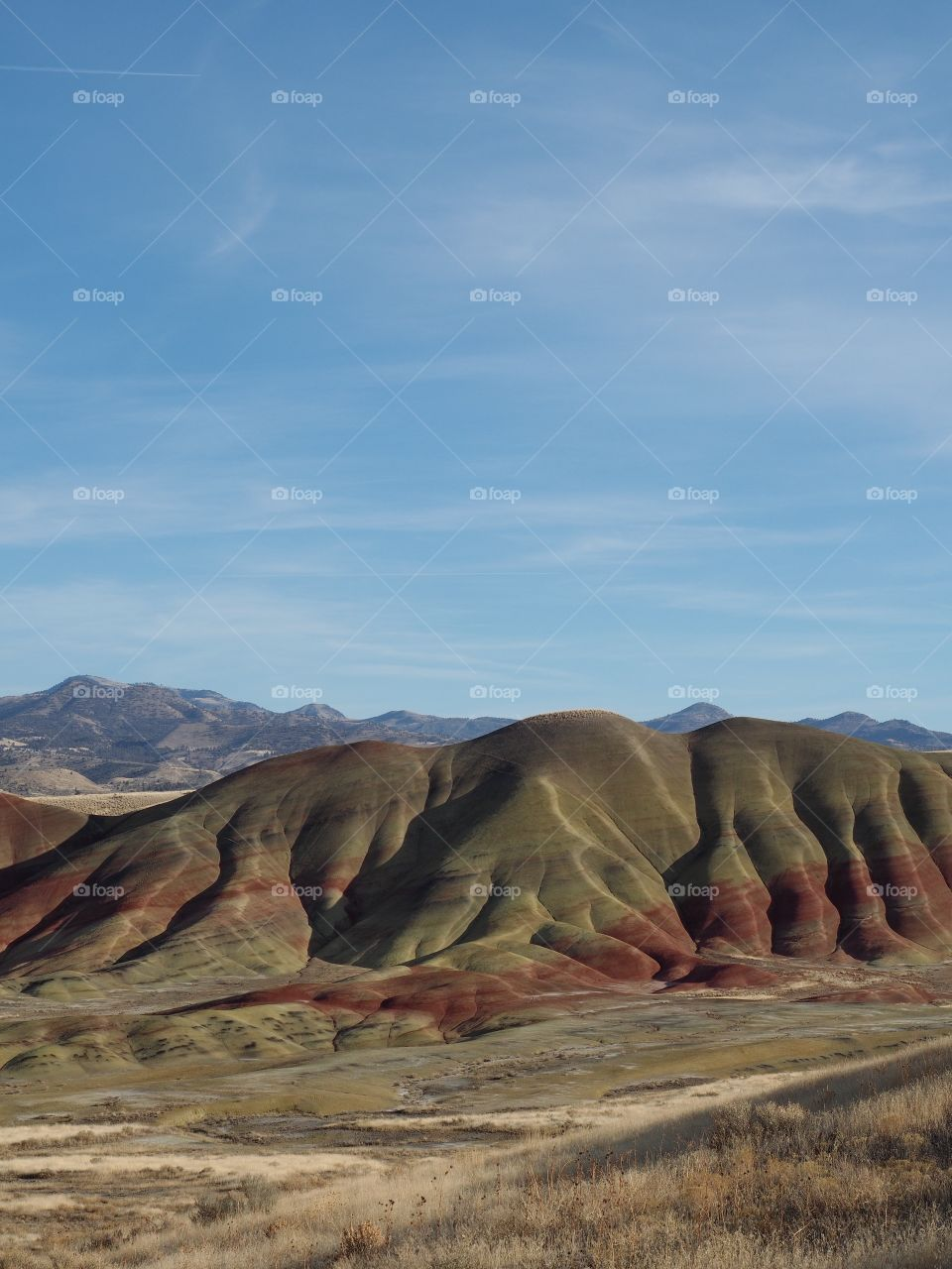 The textured Painted Hills in Eastern Oregon with layers of red, brown, green, and yellow on a sunny winter afternoon.
