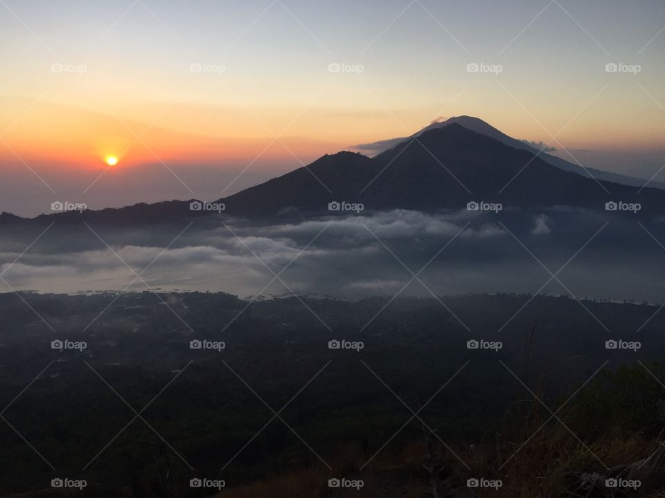 View of mountain during sunrise