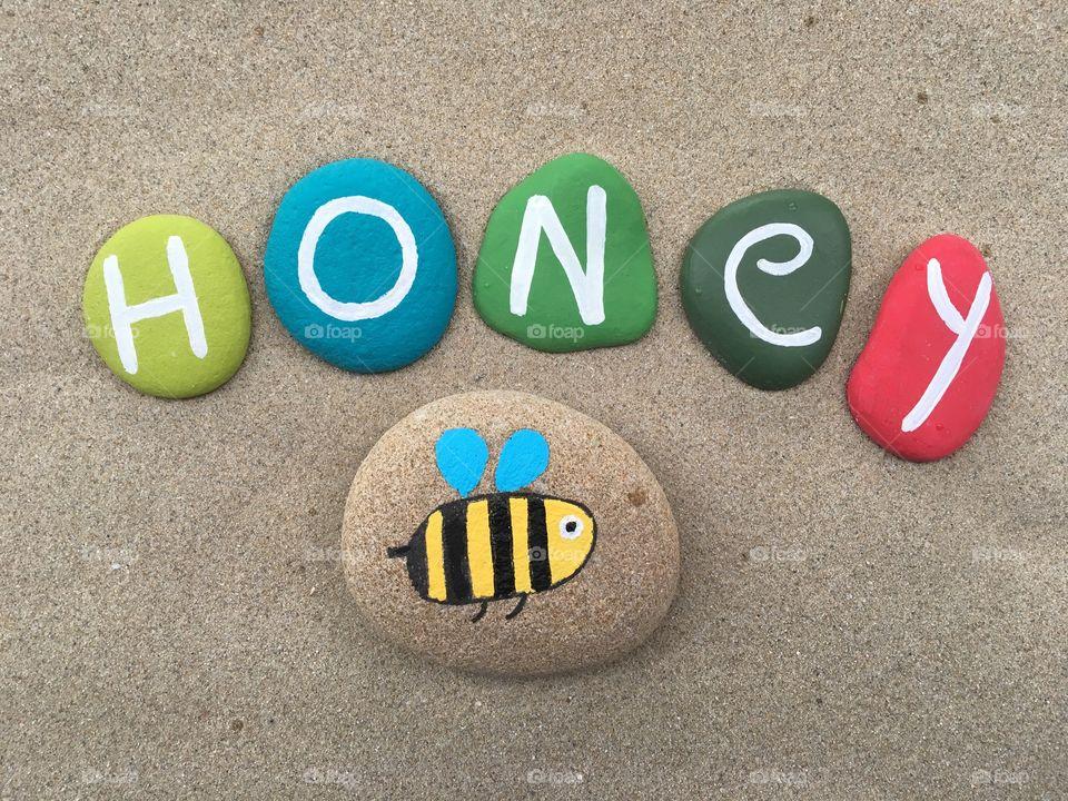 Honey, organic food concepton stones design