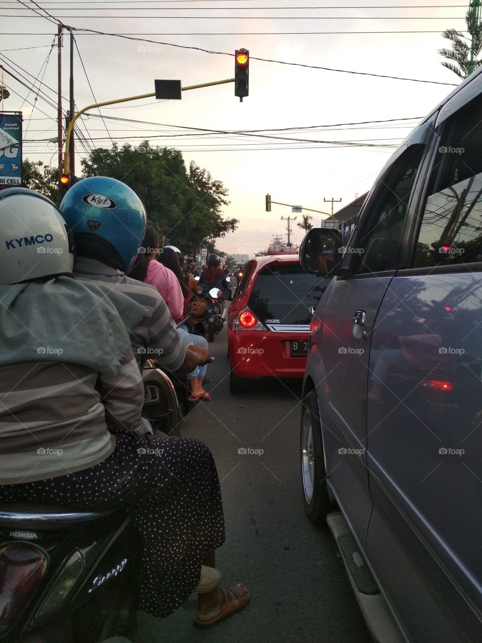 Waiting for traffic light