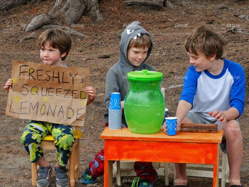 Children selling lemonade