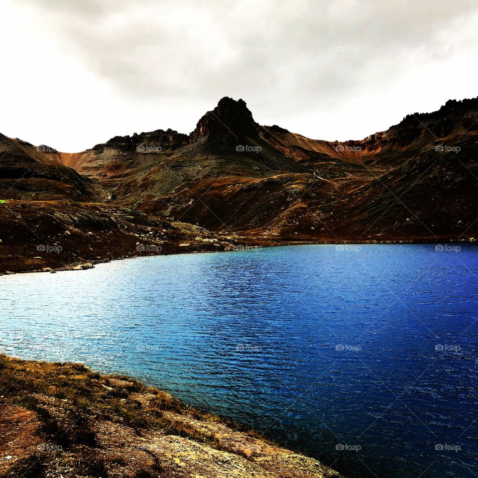 Natural blue high altitude lake